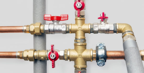 heating system cooper pipes ball valves